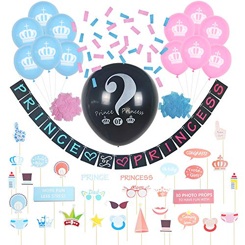 Trinidade Baby Gender Reveal Party Supplies (46 Piece Set) Includes Unique Prince or Princess Banner, 36 Inch Reveal Balloon, 12 Pink and Blue Balloons, 30 Photo Props, And Confetti