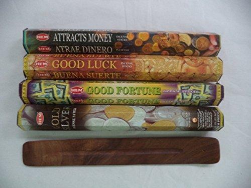 (Hem Incense Sticks Attracts Money Good Luck Good Fortune Gold Silver = 80 Sticks + Burner!)