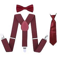Kids Suspender Bowtie Necktie Sets - Adjustable Elastic Classic Accessory Sets for Boys & Girls