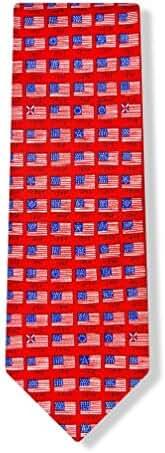 100% Silk Red Patriotic American Flag History Necktie Tie Neckwear