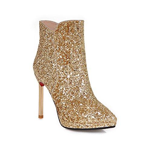 Frauen High Heel Spitzschuh Reißverschluss Pailletten Gold Gewebe Stiefeletten (40.5, gold)