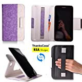 Thankscase Samsung Galaxy Tab 3 7.0 Wallet Rotating Case Cover with Hand Strap with Smart Cover Function,Ultra Slim Lightweight Smart shell Standing Pocket Cover Case for Samsung Galaxy Tab 3 7.0 SM-T210R.(PURPLE)
