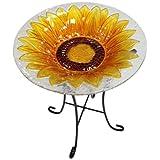 Continental Art Center CAC8ES15328 Bird Bath Glass Bowl, 13 by 2-Inch, Sunflower Yellow