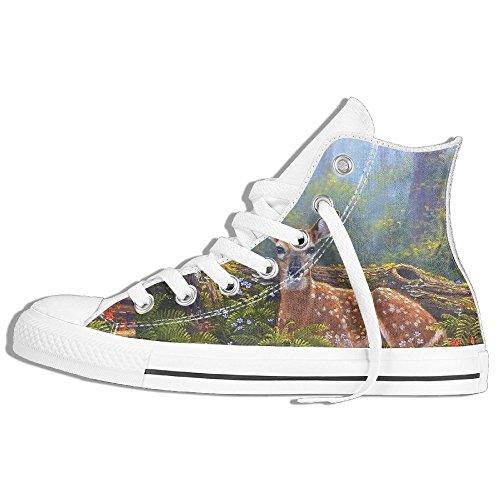 Classiche Sneakers Alte Scarpe Di Tela Anti-skid Primavera Cervo Casual Da Passeggio Per Uomo Donna Bianco