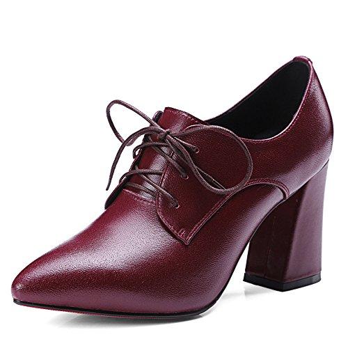 Nine Seven Cuero Puntiagudos Zapatos de Cordones de Tacón Grueso de Vestir para Mujer vino rojo