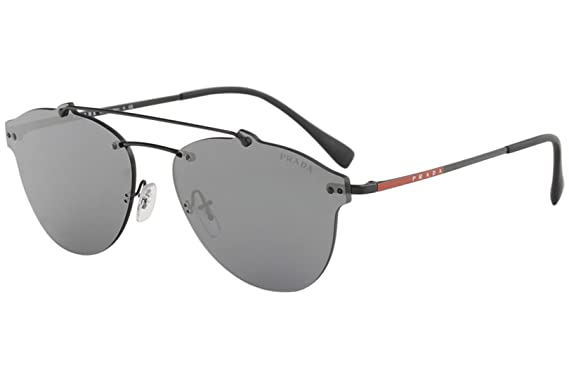23943b21f5 Amazon.com  Prada Linea Rossa Men s 0PS 55TS Black Grey Mirror Black ...