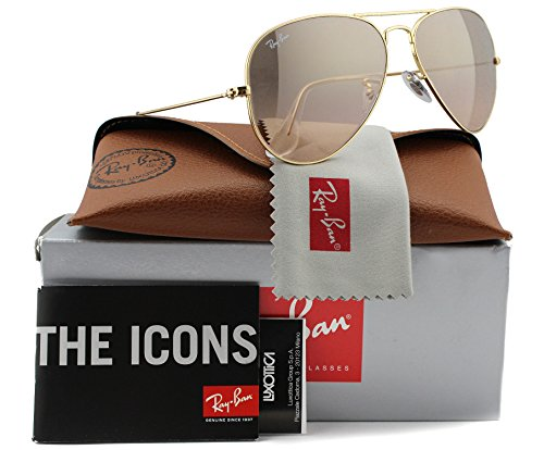 Ray-Ban RB3025 Aviator Sunglasses Shiny Gold w/Pink Mirror (001/3E) 3025 0013E 58mm - Ray Gold Ban Pink 3025