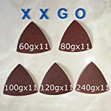 XXGO 55 Pcs Triangular 3-1/8 Inch 60 / 80 / 100 / 120 / 240 Grit Sandpaper For Wood Contains Eleven of Each Fit 3-1/8 Inch Oscillating Multi Tool Triangle Sanding Pad