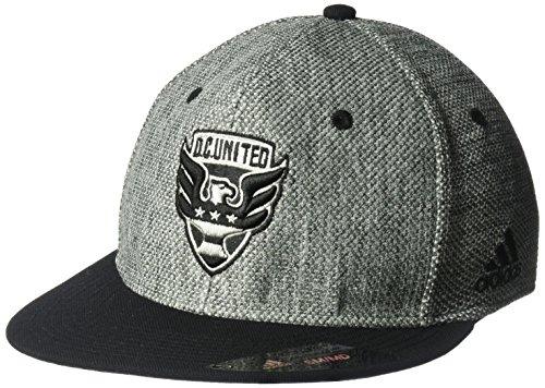 - adidas MLS D.C. United Men's Heathered Gray Fabric Flat Visor Flex Hat, Small/Medium, Gray