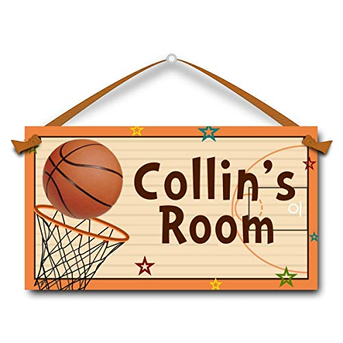 (Personal Name Sign, Basketball Sport, Kids Door Sign)