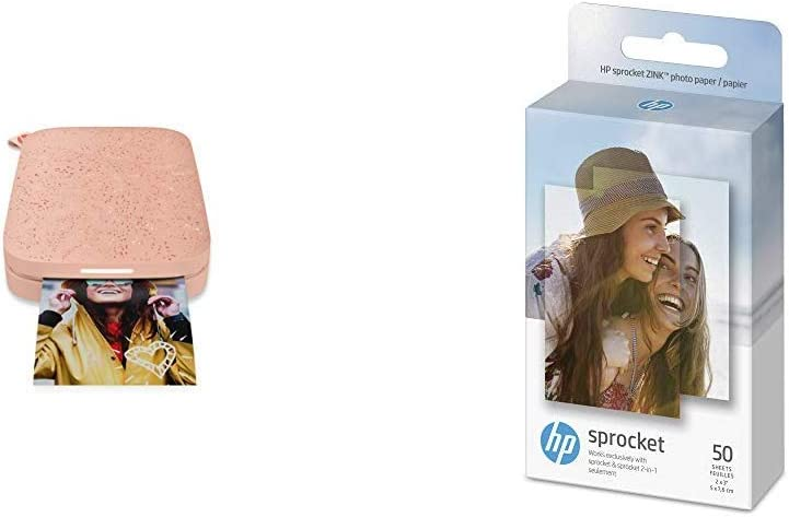 "HP Sprocket Portable Photo Printer (2nd Edition) – Instantly print 2x3"" sticky-backed photos from your phone – [Blush] [1AS89A] and Sprocket Photo Paper, 50 Sheets"