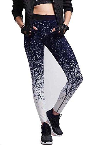 BucaDala Womens Floral Print Skinny Fit Yoga Pants Stretchy Leggings Pencil Pants from BucaDala