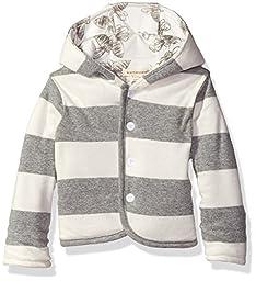 Burt\'s Bees Baby Boys\' Organic Reversible Snap Front Jacket, Heather Grey, 18 Months