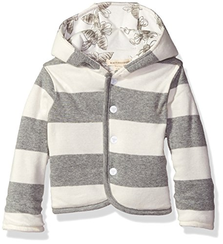 Burt's Bees Baby Boys' Organic Reversible Snap Front Jacket, Heather Grey, 12 Months