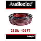 22 GA Gauge Red and Black Speaker Wire Audiopipe 100' Feet Home Car Zip Cord Audio Power Ground Cable