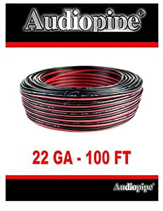 22 ga gauge red and black speaker wire audiopipe 100 39 feet home car zip cord audio. Black Bedroom Furniture Sets. Home Design Ideas