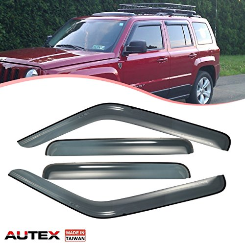 Guards 2015 Jeep - AUTEX Tape On Side Window Deflector Compatible with Jeep Patriot 2007 2008 2009 2010 2011 2012 2013 2014 2015 2016 2017 Window Visor Tape On Rain Guard 4Pcs Made in Taiwan