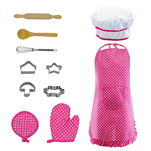 Kids Cook & Bake Set Role Play Costume for Baby Girl Boy,Chef Tools Set Include Apron,Chef Hat,Cake Mold Set DIY Game Set (Pink-B) -