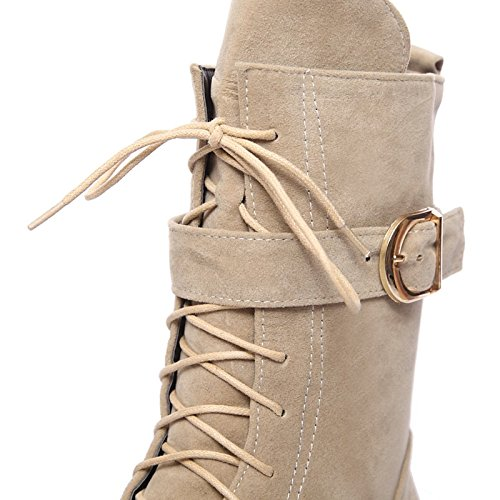 Boots per stivali Fashion stivaletti fibbia stivaletti Toe vello Stivali Winter Stivali Scarpe Fall Flat donna Calf Mid HSXZ Round Bootie Almond Snow gqRxaW