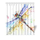 """66""""(w) x 72""""(h) Cute Dragonfly Watercolor Painting Bathroom Shower Curtain Shower Rings Included, 100% Polyester"""