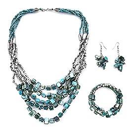Shop LC Delivering Joy Handmade Coastal Stainless Steel Earrings Wrap Bracelet Multi Strand Necklace