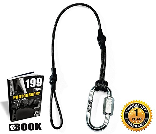 HiiGuy Camera Tether for DSLR- Safety Leash for Your DSLR- Nikon  Canon Sony and  any Camera Strap-Quick Release-3mm Rope- Warranty by HiiGuy
