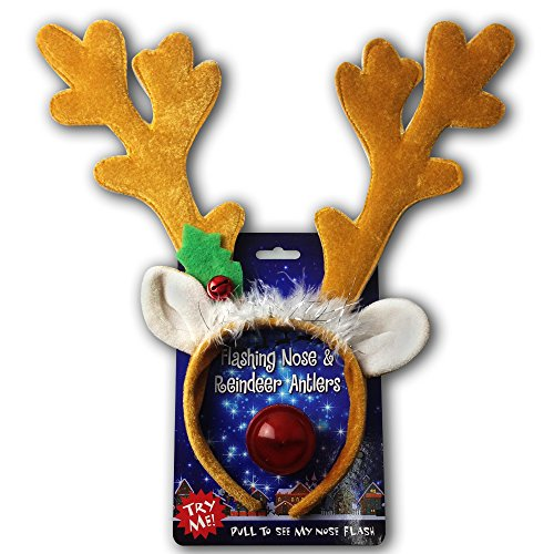 SCS Direct Reindeer Antlers & Light-up Blinking Flashing Nose - One Size Fits All This Christmas
