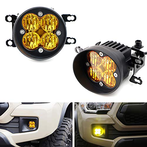 iJDMTOY Yellow Lens 24W High Power LED Wide Angle SAE Flood Beam Fog Light Kit w/Built-On Mounting Brackets Compatible With Toyota Tacoma Tundra 4Runner, etc