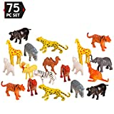 75 Piece Party Pack Mini Wild Jungle Animals - Plastic Mini Educational Jungle Animal Toys - Fun Gift Party Giveaway
