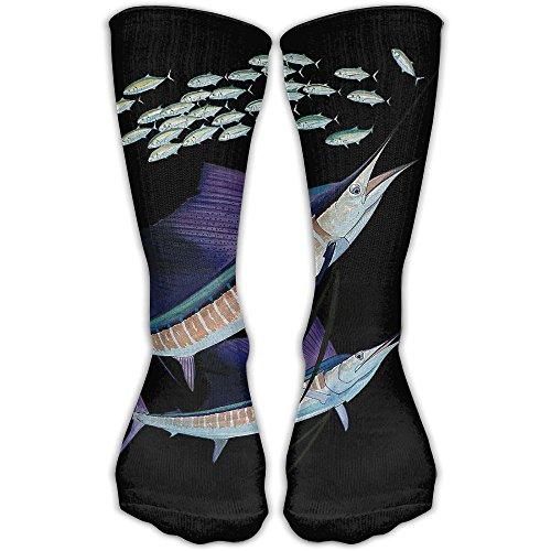 Marlins Man Halloween Costume (Couple Marlin Women & Men Socks Knee High Long Soccer Sport Tube Stockings Length 30cm)