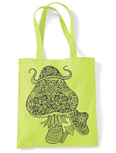 Magic Mushrooms Large Print Tote Shoulder Shopping Bag Lime Green