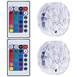 Lictin 2pcs Submersible LED Lights with Remote Control, Decoration Lights for Vase Base, Floral, Aquarium, Garden, Wedding, Party Multi Color Changing Watertight LED Lights(White)