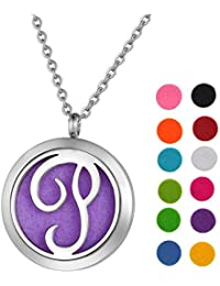"Monogram Aromatherapy Essential Oil Diffuser Necklace A to Z Letter Locket Pendant with 24"" Chain + 12 Refill..."