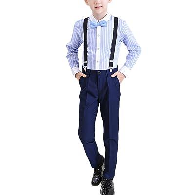 Zhuhaitf Kids Boys Stripe Shirt+Pants+Strap+Tie Sets Formal Wedding Outfits