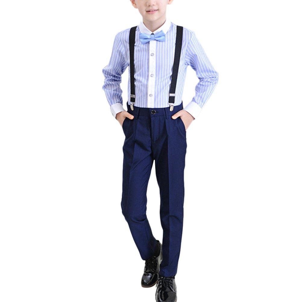 Zhhlinyuan Boys Wedding Gentleman Outfits Kids Stripe Shirt+Pants+Strap+Tie Sets