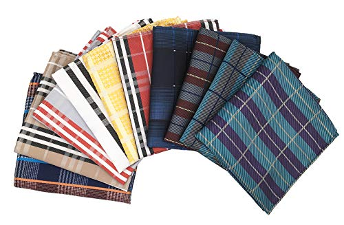 MENDENG New Mens 10 Pack Silk Striped Plaid Pocket Square Hanky Handkerchief Set