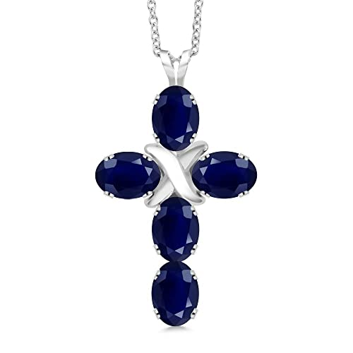Gem Stone King 2.75 Ct Oval Blue Sapphire 925 Sterling Silver Cross Pendant With Chain
