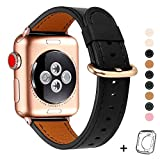 Compatible iWatch Band 38mm 40mm, Top Grain Leather Band Replacement Strap iWatch Series 5,Series 4,Series 3,Series 2,Series 1,Sport, Edition (Black Band+rose gold, 38mm40mm)