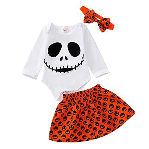 10 Inch Pumpkin - Mayunn 3-Pieces Infant Baby Girls Cotton Halloween Ghost Pumpkin Romper Skirt Dress Outfits Set(0M-24M)
