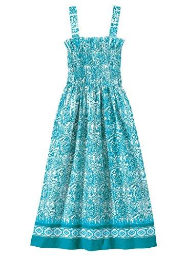 AmeriMark Women's Smocked Bodice Sundress 2X (20W-22W)/Island Blue Stretch Bodice