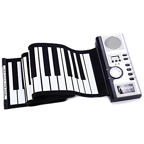 - 61 Keys Portable Roll-Up Piano Keyboard, Flexible Soft Electric Digital Piano Keyboard Foldable Piano Keyboard