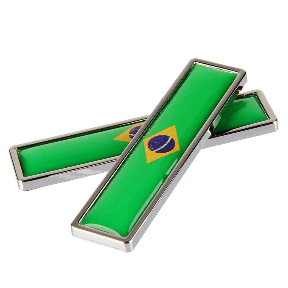 1 paio bandiera brasiliana metallo 3D corpo auto logo auto moto personalit/à decorazione adesivo emblema distintivo