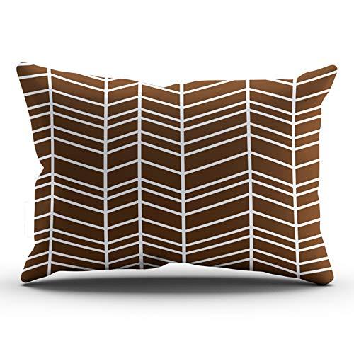 (DOUMIFA Chevron Herringbone Chocolate Brown Home Decoration Throw Pillowcase 12X24 inch Lumbar Size One Side Design Printed Custom Cushion Cover Case (1-Pack))