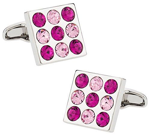 Austrian Crystal Pink Fuchsia Silver Cufflinks with Presentation Box