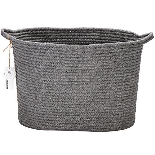 Sea-Team-14-x-9-x-11-Oval-Natural-Cotton-Thread-Woven-Rope-Storage-Basket-Bin-Hamper-with-Handles-for-Nursery-Kids-Room-Storage-Grey