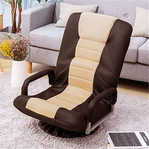 MERITLINE Swivel Video Rocker Gaming Chair Adjustable 7-Position Floor Chair Folding Sofa Lounger (Brown+Beige)