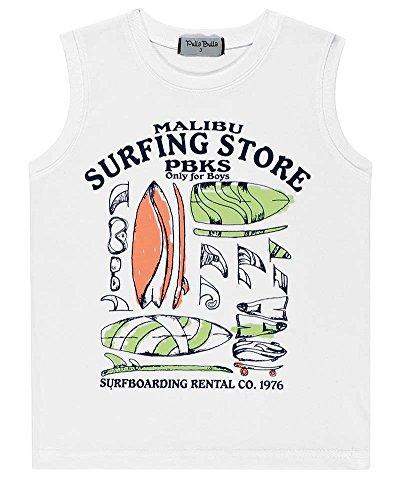 Pulla Bulla Toddler Boy Tank Top Little Boy Graphic Muscle Shirt Summer 1 Year - (White Malibu 100 Collection)