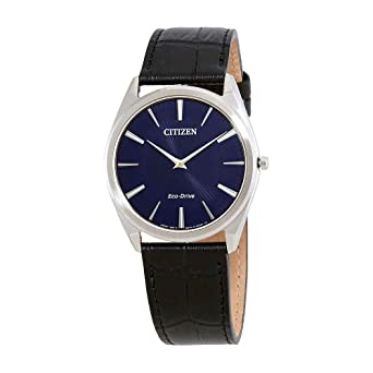 e0bd331eb6e Image Unavailable. Image not available for. Color  Men s Citizen Eco-Drive  Stiletto Blue Dial Strap Watch ...