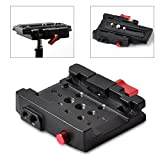 Professional Aluminum Quick Release Plate Adapter 1/4 3/8 Screw DSLR Camera Camcorder Tripod Monopod,Compatible Manfrotto 501HDV 503HDV 701HDV 577/519/561/Q5