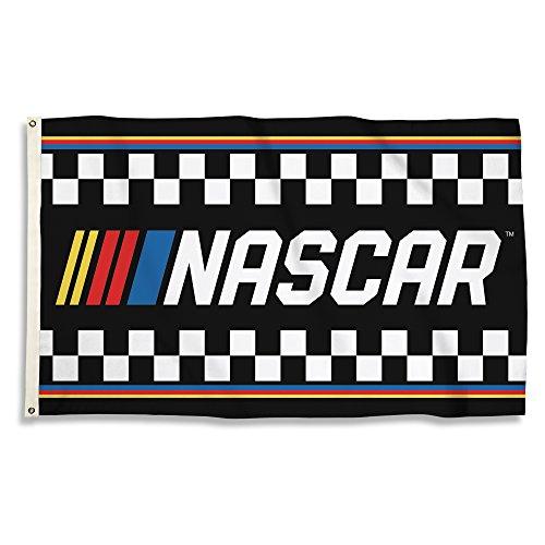 NASCAR with Stripes 3 x 5' Flag with Grommetsnascar with Stripes 3 x 5' Flag with Grommets, Black & Team Color,